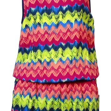 Miken Women's Chevron Print V-Back Romper Cover Up