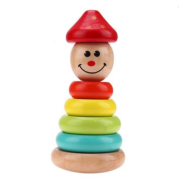 Colorful Clown Tumbler Wooden Toys Building Blocks Toys For Children Early Education Toys For Baby Kids