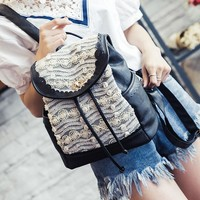Sweet Lace school bag backpack PU leather Harajuku free shipping