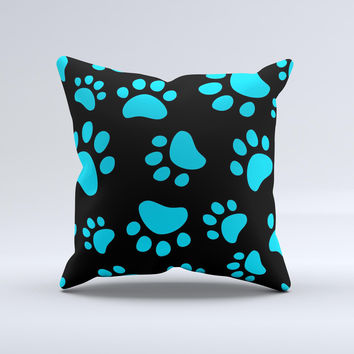 Black Turquoise Paw Print Ink-Fuzed Decorative Throw Pillow