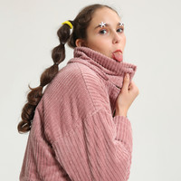 Tyakasha Planner Pink Corduroy Long Hooded Jacket
