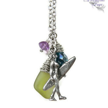 Surfer Chick Necklace with sea glass, Hawaiian jewelry for surf lovers by Mermaid Tears Hawaii