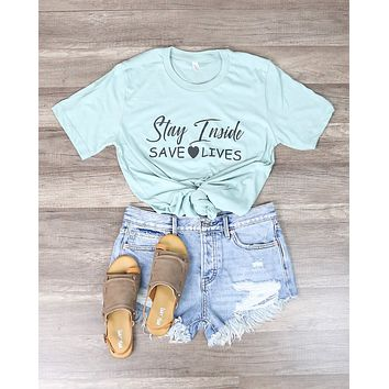 Distracted - Stay Inside Save Lives Graphic Tee in Mint