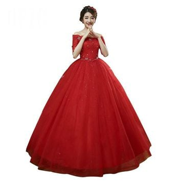 Half Sleeves Boat Neck Lace Up Red White Crystal Wedding Ball Gowns