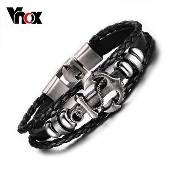 Vnox Vintage Anchor Bracelet Black Genuine Braided Leather Charm Bracelets Men J