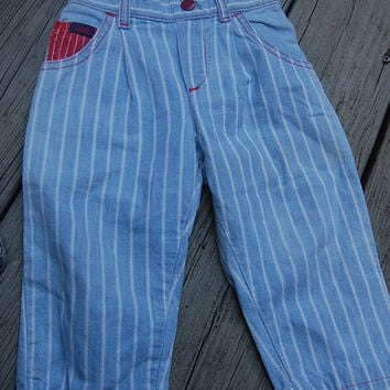 Vintage 80s Lee Chambray Pinstripe Railroad Conductor Union Made Jeans Baby Toddler Childrens Kids Size 24 Months