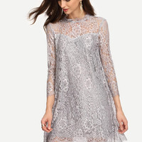 Floral Lace 3/4 Sleeve Dress  11593