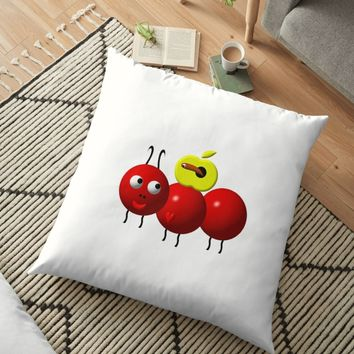 'Cute ant with an apple' Floor Pillow by Artist4God