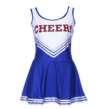 JHO-Tank Dress Blue Pom pom girl cheerleaders dress fancy dress L(38-40)