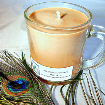Hot Cocoa Scented Soy Candle in 10oz Glass Mug Brown Handcrafted Eco Friendly Chocolate Lovers Gift Fall/Winter Fragrance