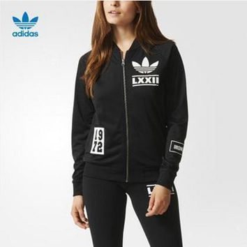 adidas women sports casual letter numeral print long sleeve zip baseball clothing jacket coat