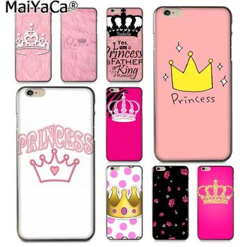 MaiYaCa Pink PRINCESS Queen boss crown king Luxury Fashion 2D Phone Case for Apple iPhone 8 7 6 6S Plus X 5 5S SE XS XR XS MAX
