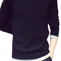Long Sleeve Contrast Ribbed Trim Knit Sweater