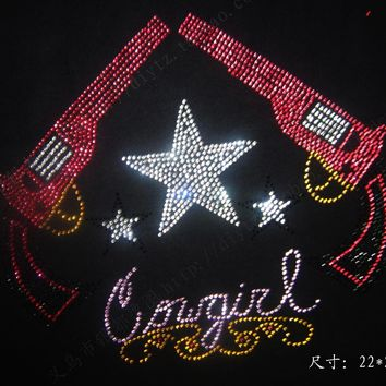 2Pcs/Lot Hot Fix Rhinestone Iron On Heat Transfer custom childrens iron on tranfers
