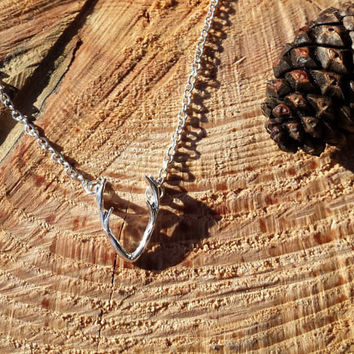 Sterling Silver Dainty Antler Necklace