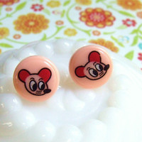 Peach Mice Stud Earrings - Peach Rat Post Earrings - Pet Rat - Pet Mouse - Kitsch Kawaii Cute -  Hypoallergenic Nickel Free