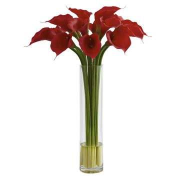 Silk Flowers -Red Calla Lily With Large Cylinder Vase Artificial Plant