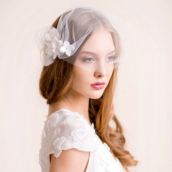 Bridal Tulle Blusher with Hydrangea Blooms - Bridal Blusher of Tulle - Bandeau Style - Bridal Hair Accessories with Flowers