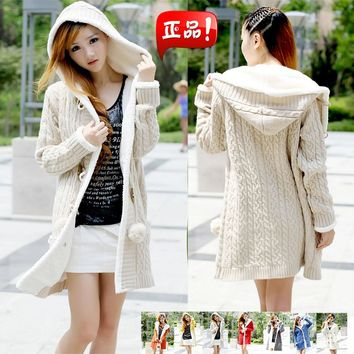 2018 New winter cashmere sweater thick warm hooded sweater coat Korean Slim double-breasted thick knitted long cardigan TB7665