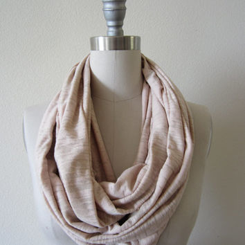 Extra wide soft Unisex pale pink  burn out cotton poly tissue thin jersey knit Infinity Scarf Loop Scarf Circle Scarf Handmade