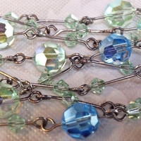 Vintage 20s Iridescent Blue & Green Crystal and by Mercivintage
