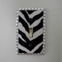 ZEBRA PRINT & BLING Switchplate -Zebra Print eco felt with sparkling clear rhinestones