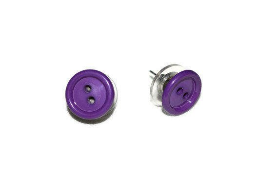 Cute as a Button Vintage Purple Earrings by chumaka on Etsy