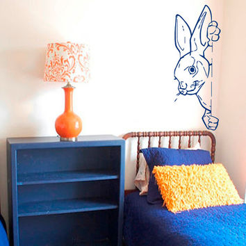 Wall Decals  Animals Decal Hare Rabbit Hares Humor Fauna Girl Boy Bedroom Kids Nursery Children Baby Living Vinyl Sticker Home Decor ML119