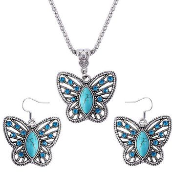 Natural  Stone Jewelry Sets Women Birthday Gifts Butterfly Pattern Retro Necklace Bracelet & Earrings Jewelry Sets