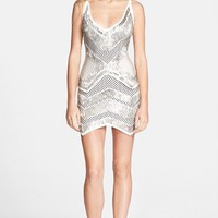 Women's Herve Leger Embellished Jacquard Knit Body-Con