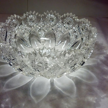"Elegant Crystal Bowl - Vintage Cut Glass Dish 8"" - Candy Dish - Wedding Decor - Shabby Chic, Cottage Chic"