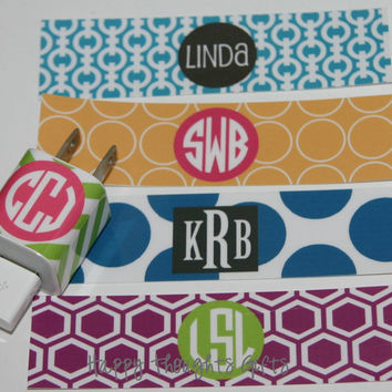 Custom Monogrammed iPhone Charger Wrap Personalized - Choose Your Design