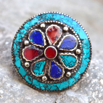 Turquoise Coral Ring,Inlaid Stone Ring,Nepali Tibetan Ring,Ethnic Flower Ring,Gypsy Jewelry,Hippie Ring,Bohemian Ring,Carved Gypsy Boho Ring