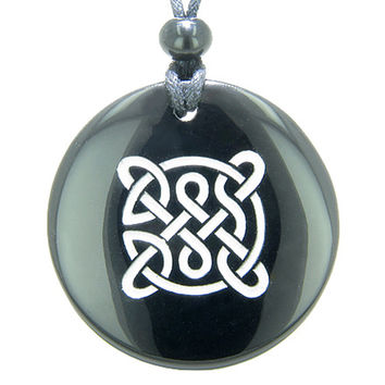 Life Protection Celtic Shield Knot Amulet Black Agate Magic Pendant Necklace