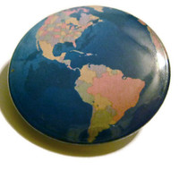 Earth Globe 1.25'' Pinback Button Badge or Magnet
