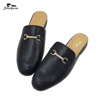 Starfarm Flat Mules Slippers Fur Leather Winter Oxford Slides Design Backless Women Slip Shoes Black Slip On Loafers 2017