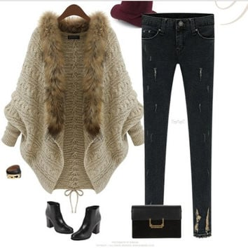 2014the autumn and winter Europe and American style new fashion one size women's knitting sweater cardigan cloak shawl batwing coat loose dress with thick coat (Color: Beige) = 1920050436