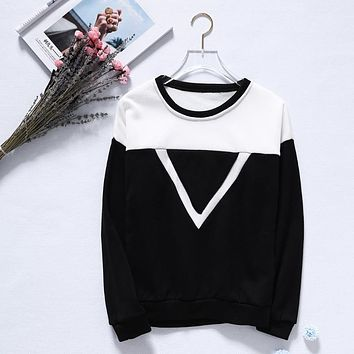 Women Long Sleeve Round Neck Triangle Print Patchwork Pullover Hoodie Tops