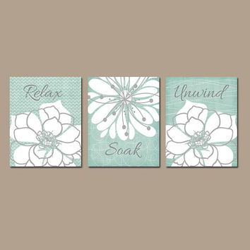 Seafoam BATHROOM WALL Art, CANVAS or Prints, Relax Soak Unwind, Rustic Bath Quote Pictures, Farmhouse Bathroom Quotes, Set of 3 Pictures