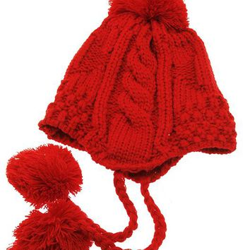 Red Ear Flap Winter Beanie Hat And Cap