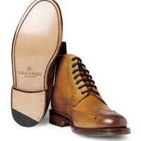 Grenson Sharp Leather Brogue Boots | MR PORTER