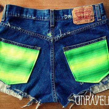 SALE High Waisted Shorts, Levis, Ethnic Tribal Pockets (Size MEDIUM to LARGE)