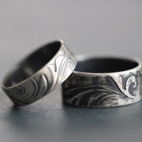 Wedding Band Set, TENDRILS, Wide Band, Rustic, Bohemian, Botanical, Embossed, His and Hers, Made To Order