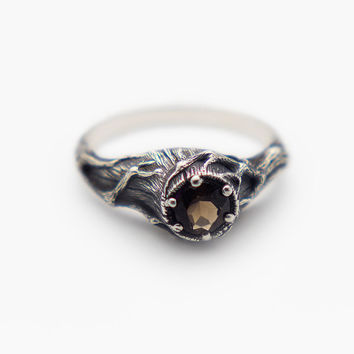 Smoky Quartz Ring, Tree Ring, Witch Ring, Gemstone Ring, Brown Stone Ring, Tree Branch Ring, Witch Jewelry, Thorn Ring, Witch Stone
