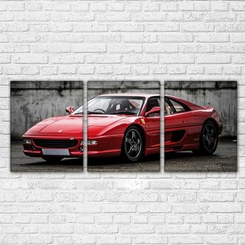 3 Panel Wall Art - Exotic Red Sports Car Painting Modern Home Decor