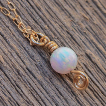 Opal jewelry, white Opal necklace, opal ball necklace, opal gold necklace, gold filled tiny dot necklace, opal bead necklace