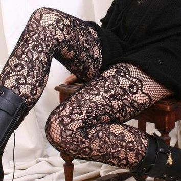 Vintage French Venise LACE Mid-Thigh Pantyhose Hoisery