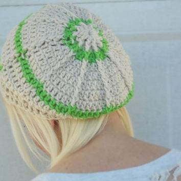 Tequila lime and cream crochet slouchy cloche hat, tam, boho,beanie