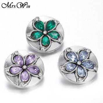 10pcs/lot New Snap Jewelry Crystal Ginger lotus Flower 18MM Snap Buttons with Alloy Button fit diy 18mm Leather Snap Bracelet