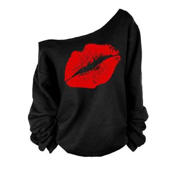 DCCKU62 2017 brand new fashion women T-shirt sexy lips pattern / pirate anchor / cartoon printing casual round neck Slim strapless